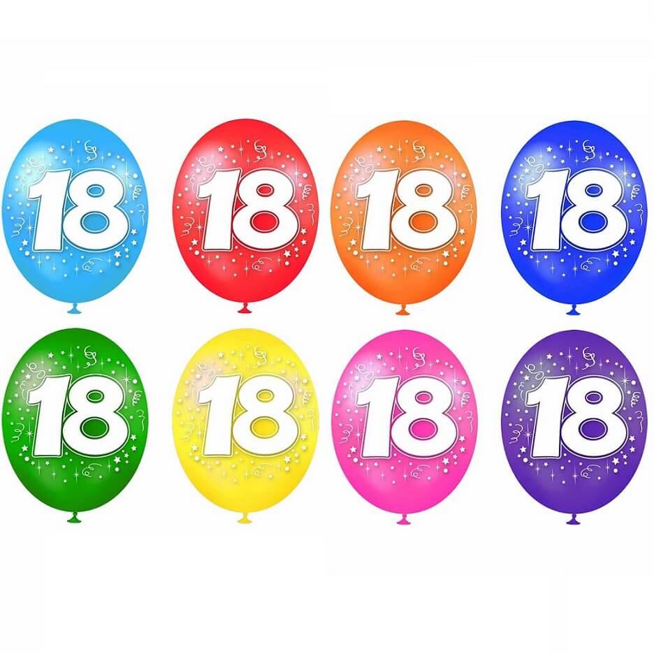 Ballon anniversaire 18ans multicolore en latex