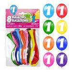 Ballon anniversaire chiffre 1 (x8) REF/BALBC1