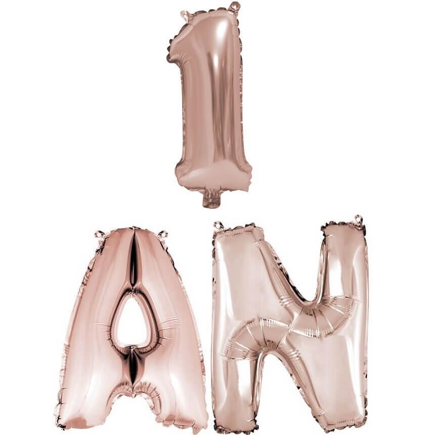 Ballon anniversaire 1an rose gold en aluminium