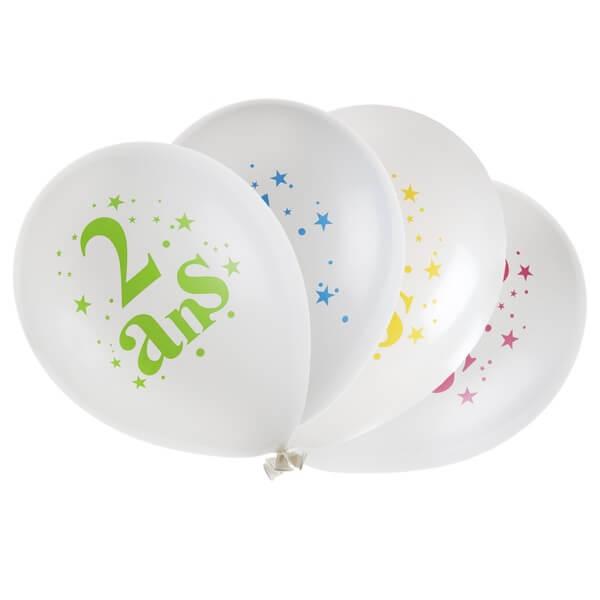 Ballon anniversaire 2 ans blanc et multicolore en latex