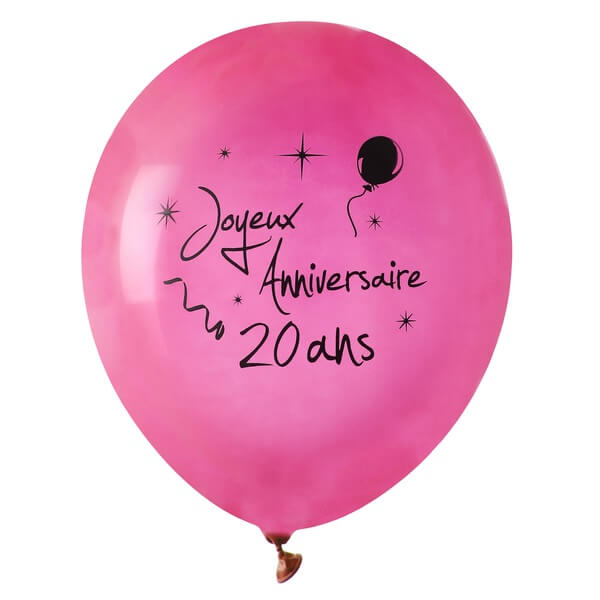 Ballon anniversaire 20 ans fuchsia en latex