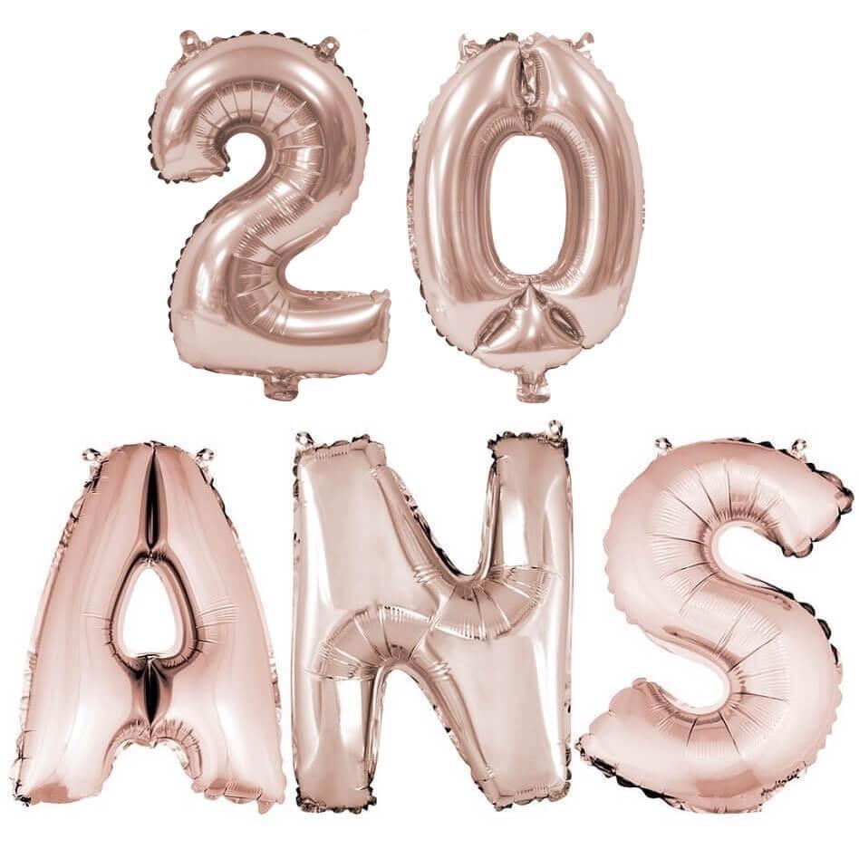 Ballon anniversaire 20 ans rose gold en aluminium