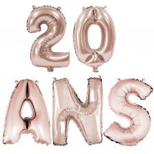 Ballon anniversaire rose gold métallique 20 ans aluminium (x1) REF/BA3000-BA3008
