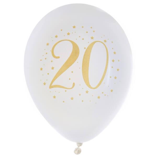 Ballon anniversaire 20ans en latex blanc et or