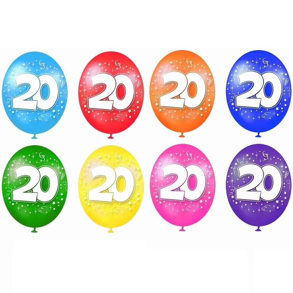 Ballon anniversaire 20ans multicolore en latex