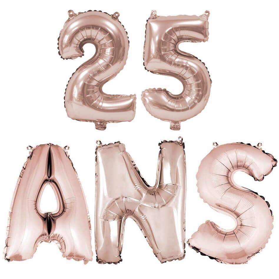 Ballon anniversaire 25 ans rose gold en aluminium