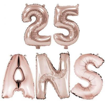 Ballon anniversaire rose gold métallique 25 ans aluminium (x1) REF/BA3000-BA3008