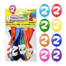 Ballon anniversaire chiffre 2 (x8) REF/BALBC2