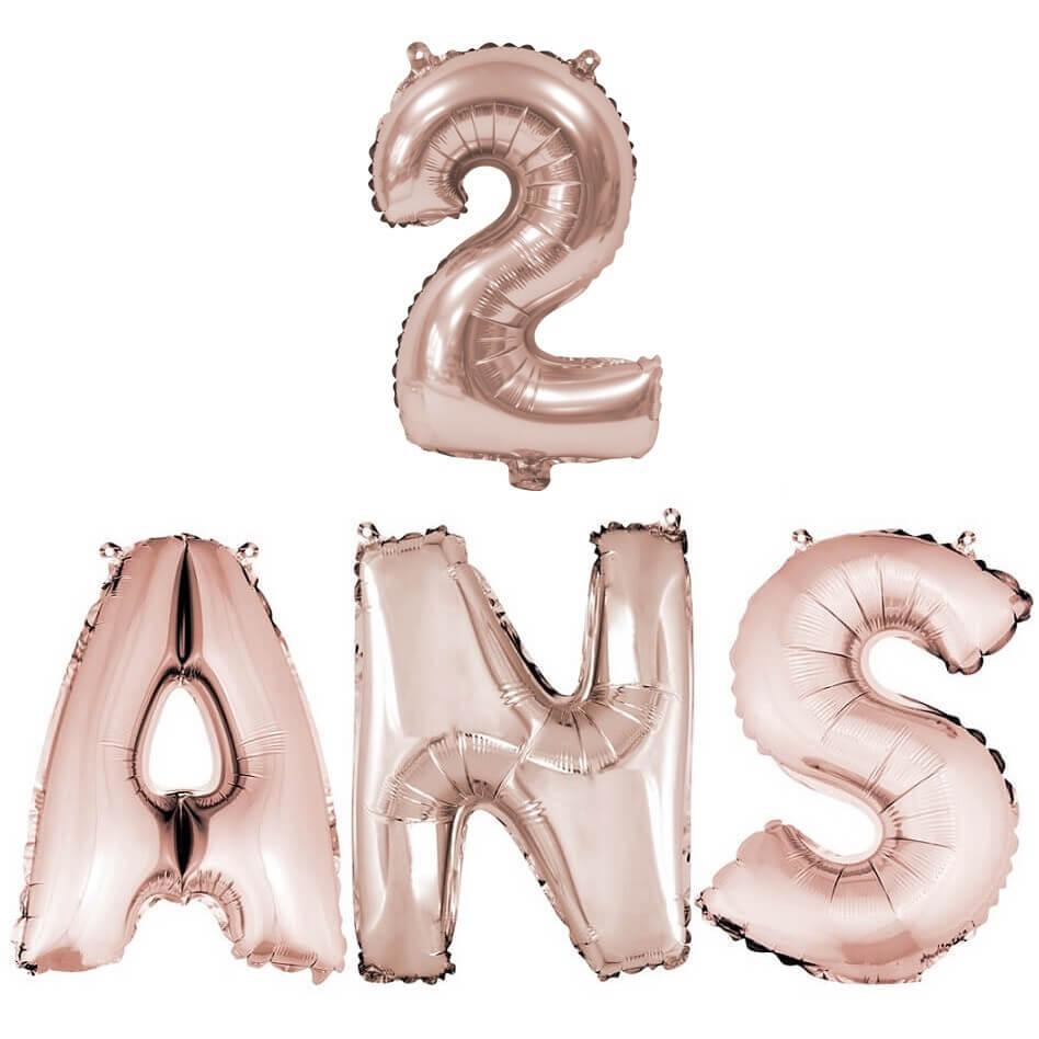 Ballon anniversaire 2ans rose gold en aluminium