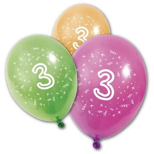 Ballon anniversaire 3 ans multicolore en latex