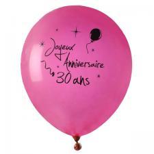 Ballon joyeux anniversaire fuchsia 30ans (x8) REF/4842