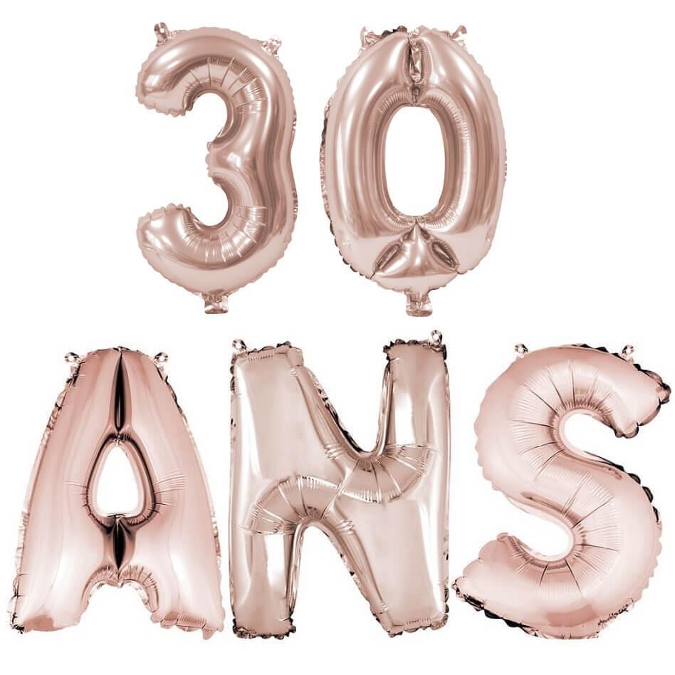 Ballon anniversaire 30 ans rose gold en aluminium