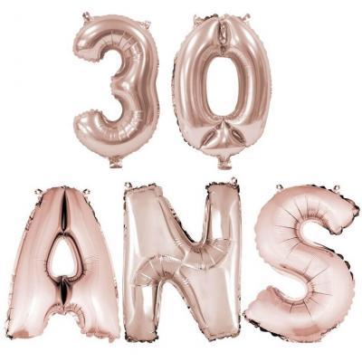 Ballon anniversaire rose gold métallique 30 ans aluminium (x1) REF/BA3000-BA3008