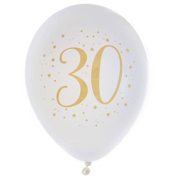 Ballon anniversaire 30ans en latex blanc et or