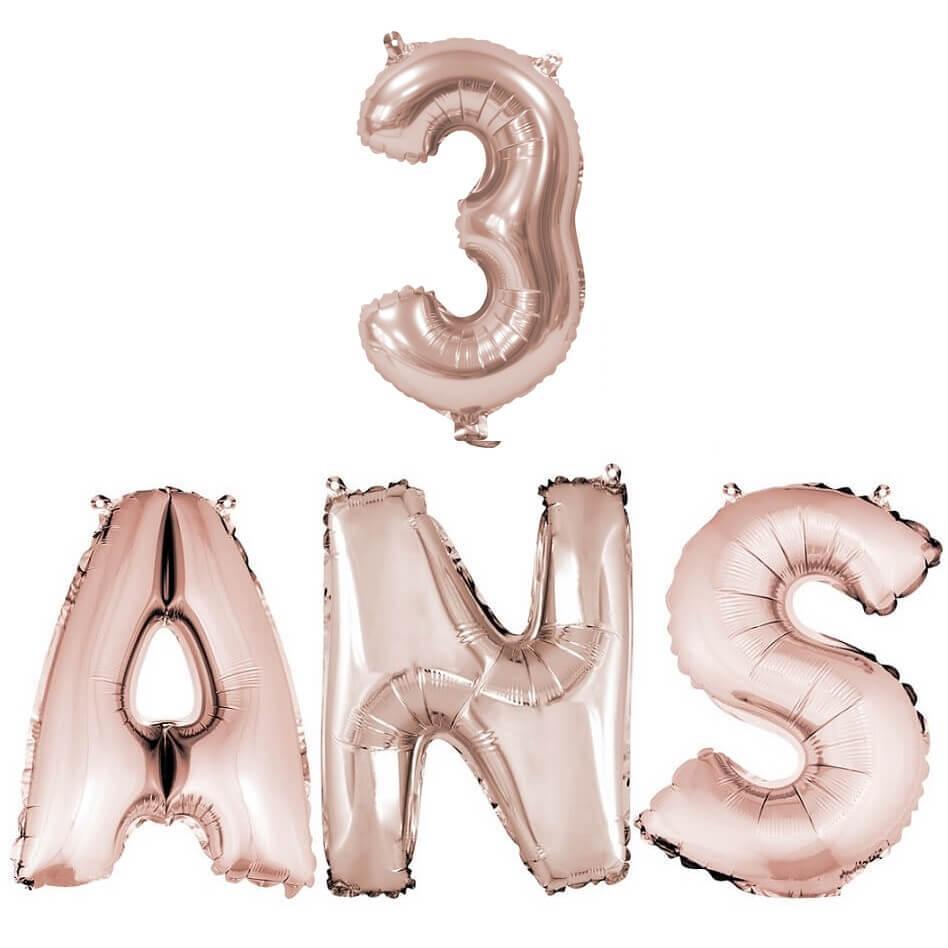 Ballon anniversaire 3ans rose gold en aluminium