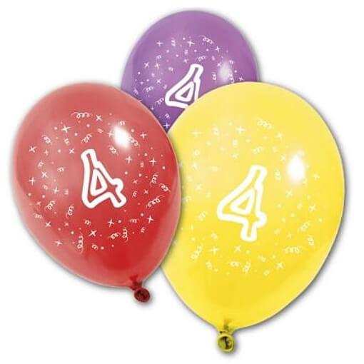 Ballon anniversaire 4 ans multicolore en latex