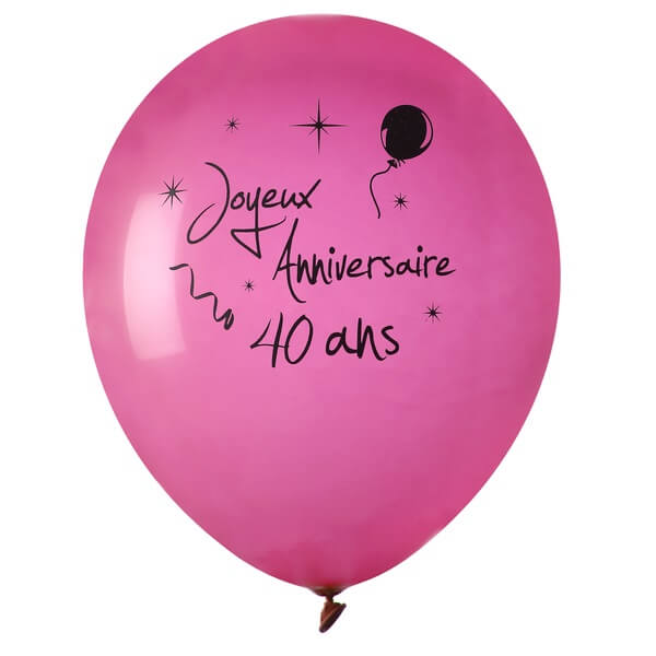 Ballon anniversaire 40 ans fuchsia en latex