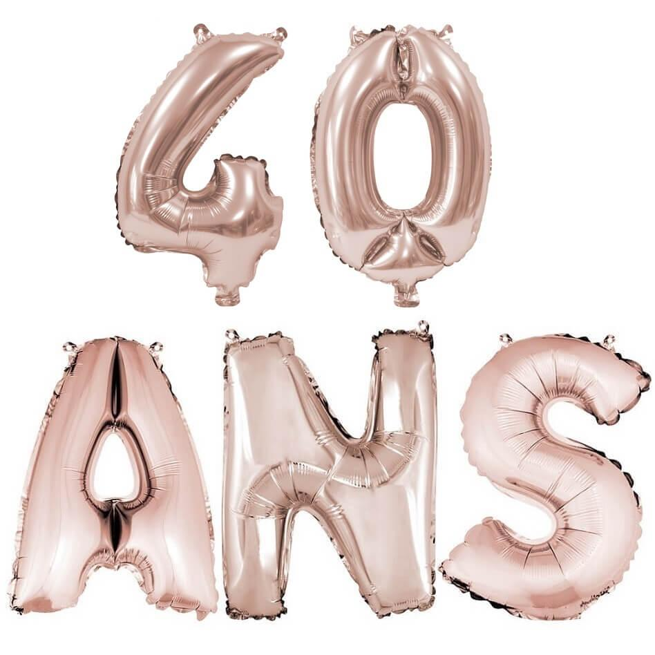 Ballon anniversaire 40 ans rose gold en aluminium