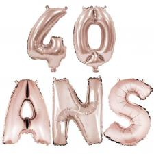 Ballon anniversaire rose gold métallique 40 ans aluminium (x1) REF/BA3000-BA3008