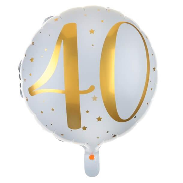 Ballon anniversaire 40ans blanc et or en aluminium