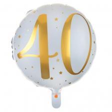 Ballon anniversaire blanc et or 40ans (x1) REF/6236