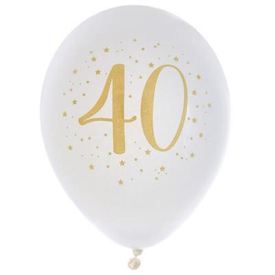 Ballon latex anniversaire 40ans blanc et or 23cm (x8) REF/6571