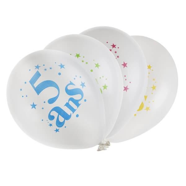 Ballon anniversaire 5 ans blanc et multicolore en latex