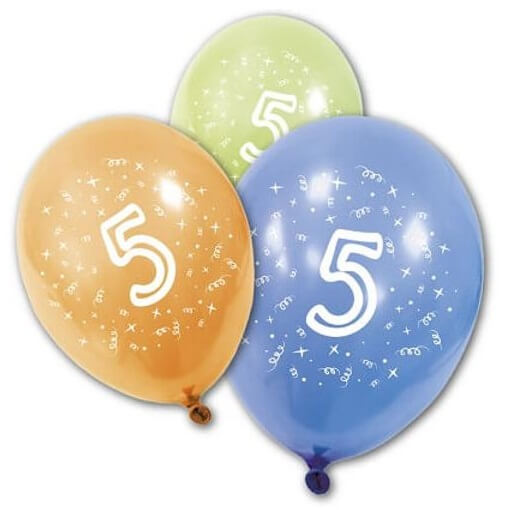 Ballon anniversaire 5 ans multicolore en latex