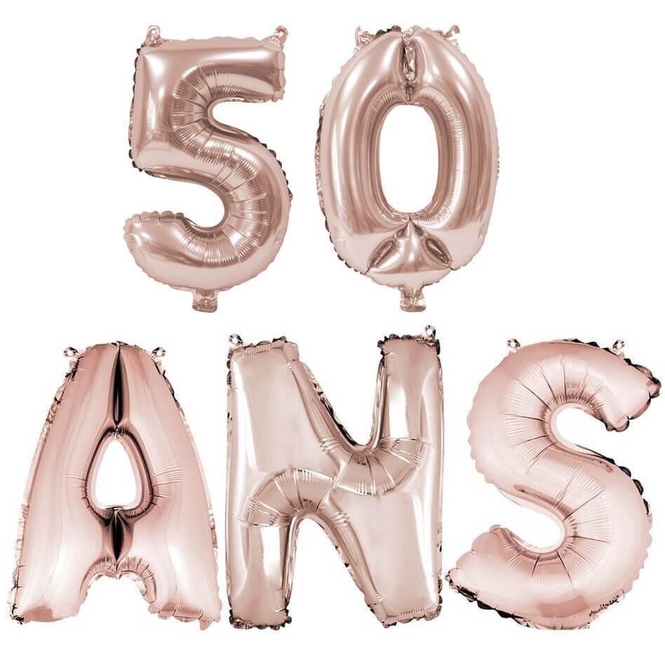 Ballon anniversaire 50 ans rose gold en aluminium