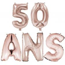 Ballon anniversaire rose gold métallique 50 ans aluminium (x1) REF/BA3000-BA3008