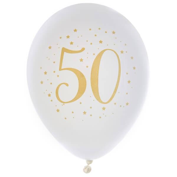 Ballon anniversaire 50ans en latex blanc et or