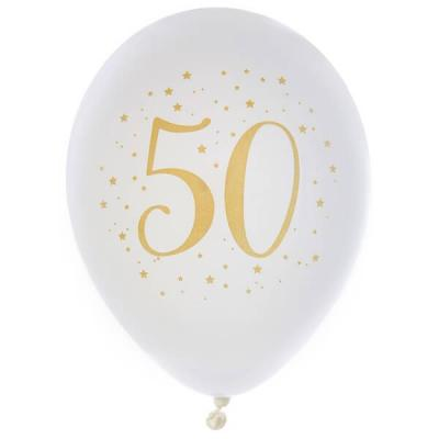 Ballon latex anniversaire 50ans blanc et or 23cm (x8) REF/6571