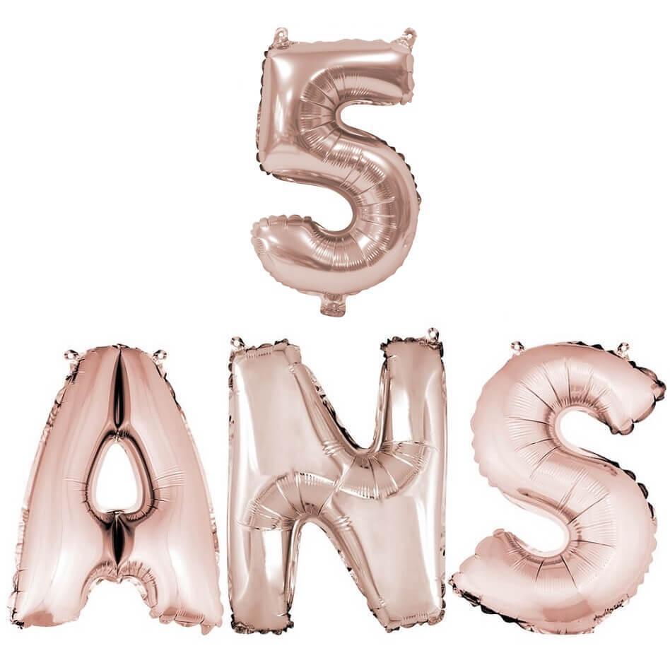 Ballon anniversaire 5ans rose gold en aluminium