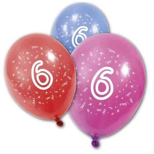Ballon anniversaire 6 ans multicolore en latex