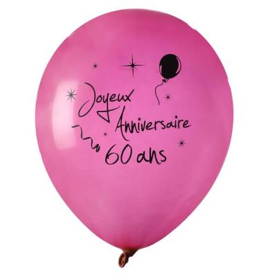Ballon joyeux anniversaire fuchsia 60ans (x8) REF/4842