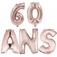 Ballon anniversaire rose gold métallique 60 ans aluminium (x1) REF/BA3000-BA3008
