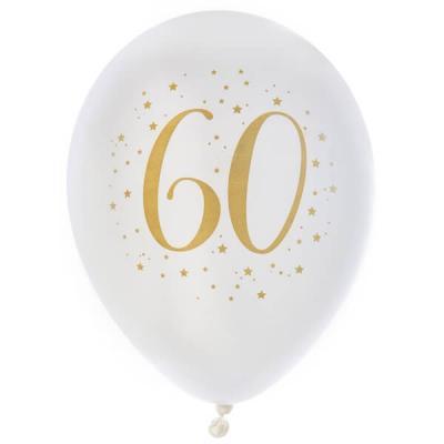 Ballon latex anniversaire 60ans blanc et or 23cm (x8) REF/6571