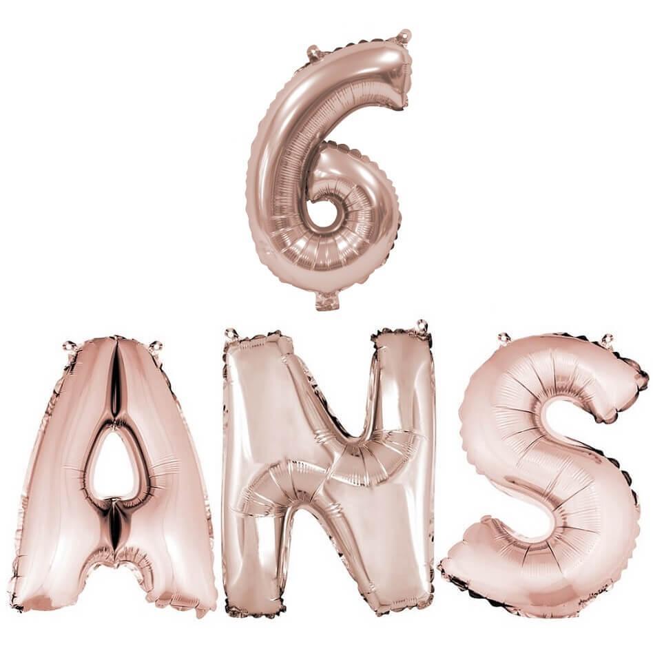 Ballon anniversaire 6ans rose gold en aluminium