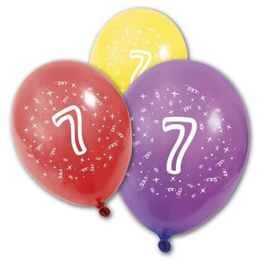 Ballon anniversaire 7 ans multicolore en latex