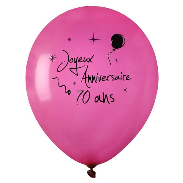 Ballon anniversaire 70 ans fuchsia en latex