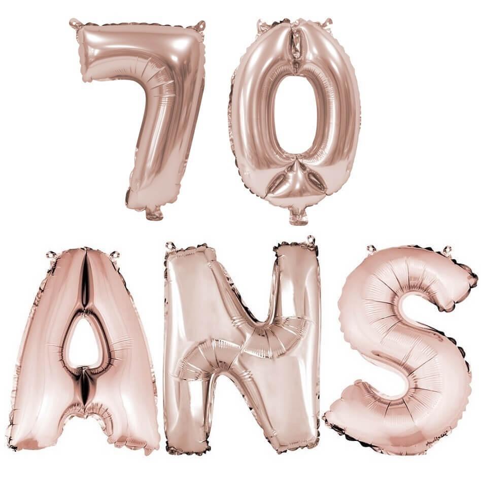 Ballon anniversaire 70 ans rose gold en aluminium