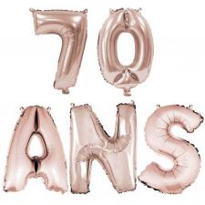 Ballon anniversaire rose gold métallique 70 ans aluminium (x1) REF/BA3000-BA3008