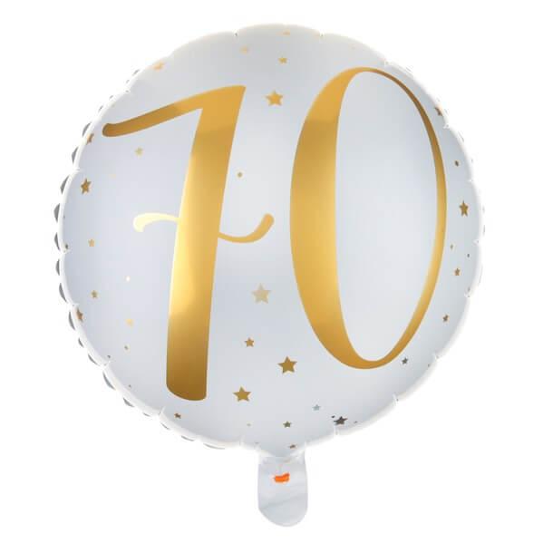 Ballon anniversaire 70ans blanc et or en aluminium
