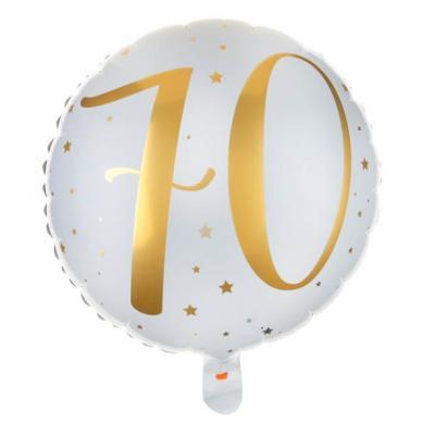 Ballon anniversaire blanc et or 70ans (x1) REF/6236