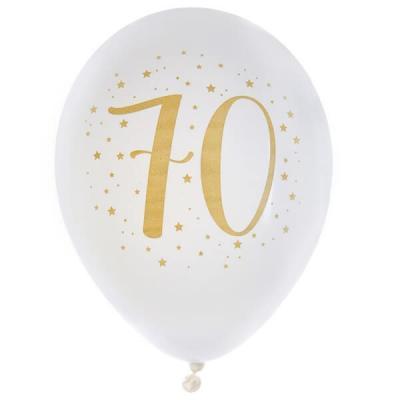 Ballon latex anniversaire 70ans blanc et or 23cm (x8) REF/6571