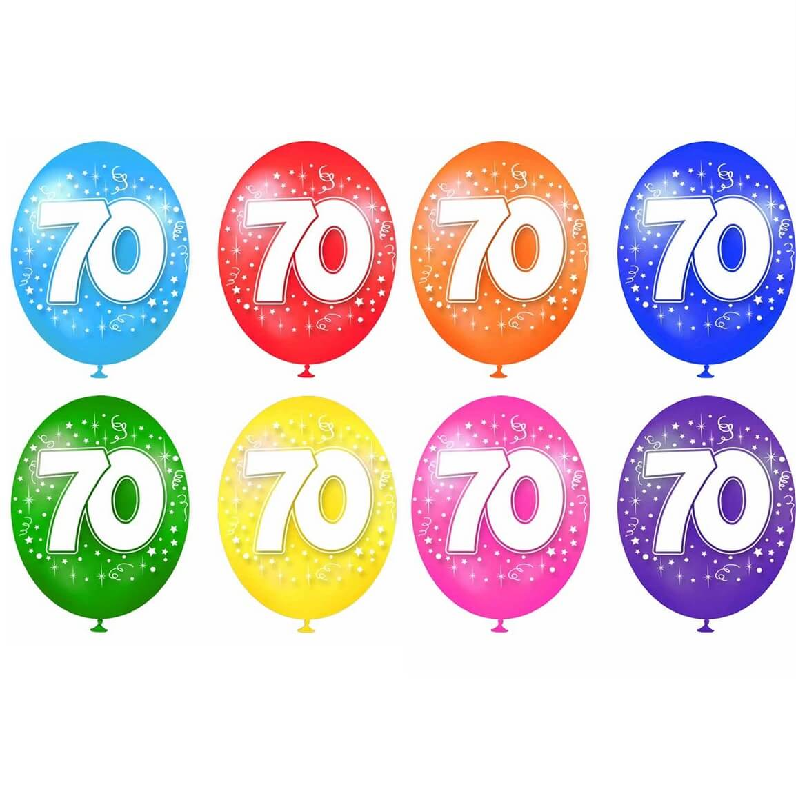 Ballon anniversaire 70ans en latex multicolore