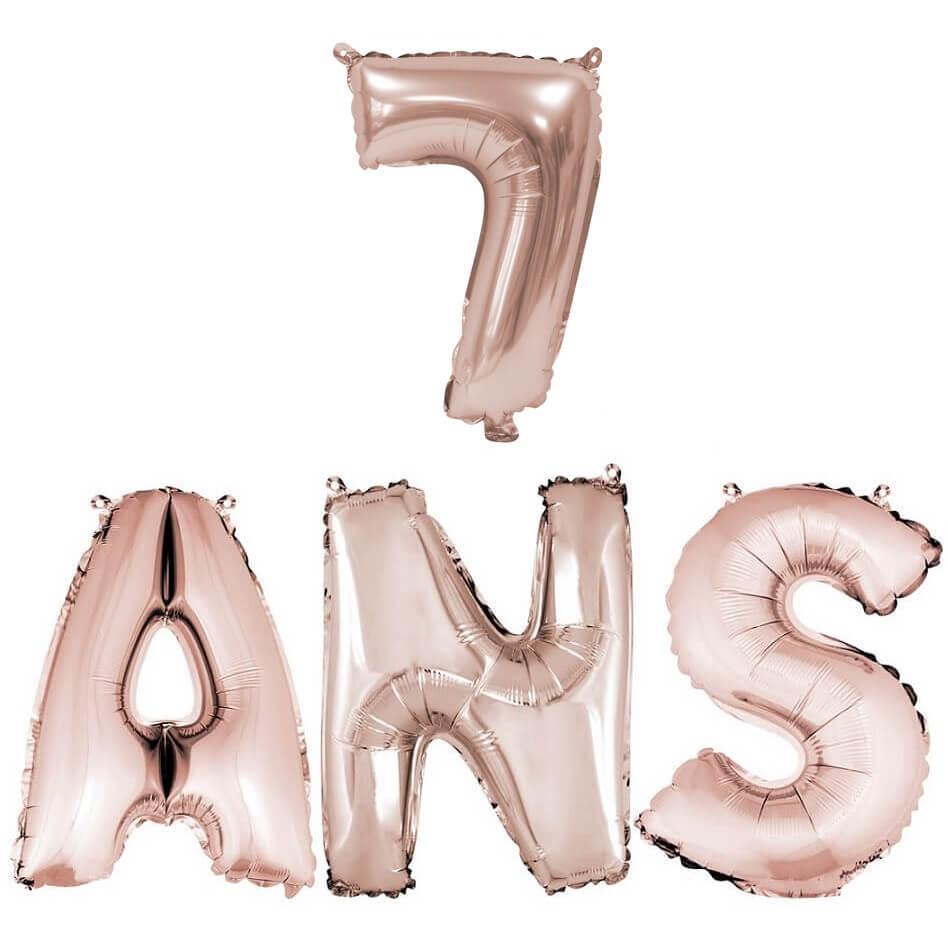 Ballon anniversaire 7ans rose gold en aluminium