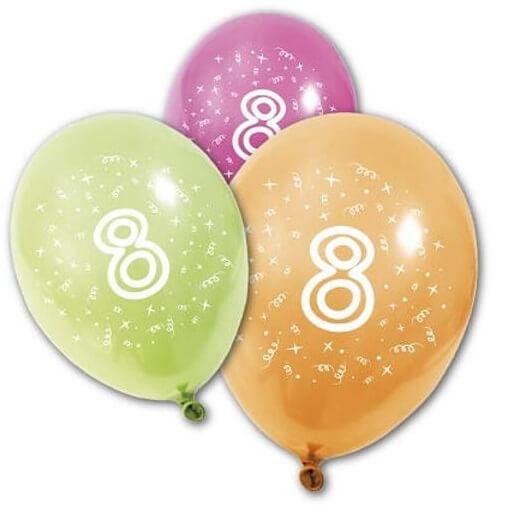 Ballon anniversaire 8 ans multicolore en latex