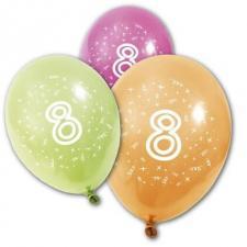 Ballon anniversaire 8ans (x8) REF/BA1008