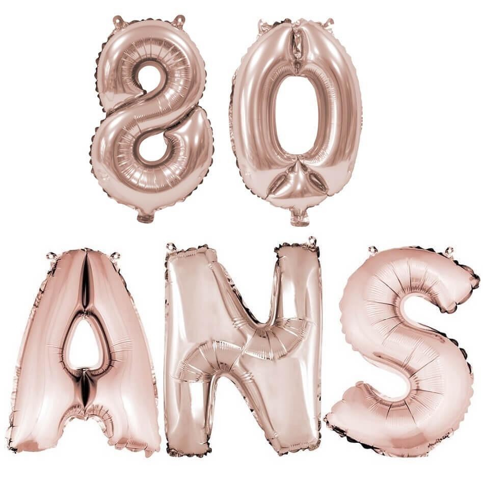 Ballon anniversaire 80 ans rose gold en aluminium